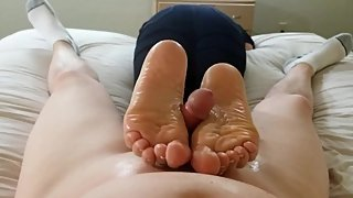 Bitch Gives Footjob to Keep Job