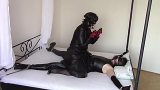 Two leather girls playing together