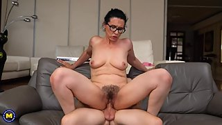 The milf Sofia Siena rides a big young cock and gets it in her mouth PART 2