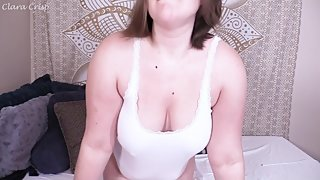 Preview: BBW MILF Teasing With Boobs In White T-Shirt With Titty Drop