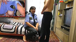 Stepmom in police uniform blowjob son and anal sex big ass