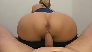 Sporty blonde mom in yoga pants working out for her creampie