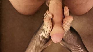 Hot foot fetish fishnets foot wank