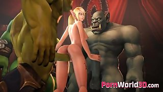 Sweet Characters from 3D Games Sucking and Rides on a Huge Long Cock