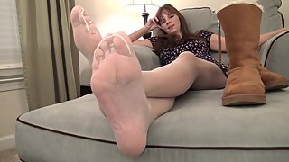 Smelly My Stinky Feet in Pantyhose! POV Foot Smelling Kara's Feet