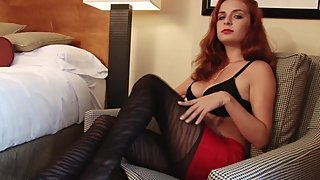 All Natural Wife, Amazingly Hot Redhead Ashley?s Masturbation in Pantyhose