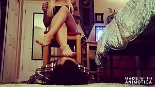 Ms. Trample's 1st human foot stool/foot face smother worship femdom video