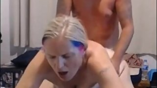 Mom getting pounded doggy by stepson he cums inside her