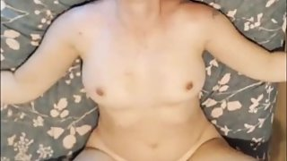 Step son cums over his mom belly after pounding her pussy