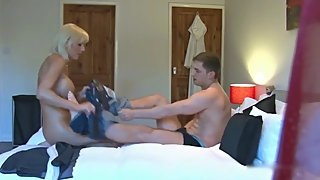Naughty mature stepmom seduces and fucks her stepson