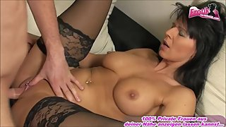 Hot german housewife milf in nylons with big natural tits fuck
