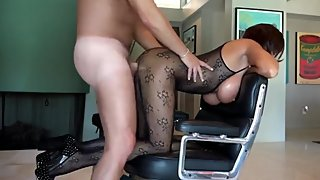 Naughty mature stepmom having fun with her shy stepson
