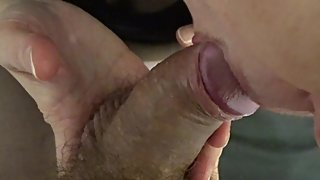 Close up Blowjob. Cum on Nylons