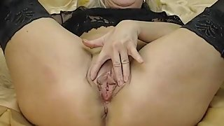 blond milf solo with dildo