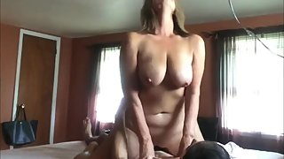 Taboo! Naughty mature stepmom rides her stepson's cock while nobody home