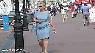 Sexy BBW MILF on tight dress