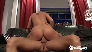 Giant tits blonde Alanah Rae cow riding on veiny dick