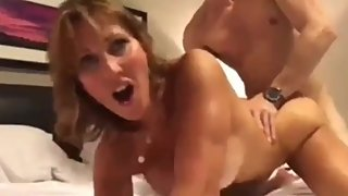 Taboo! Stepson with big cock cums inside his mature horny stepmom