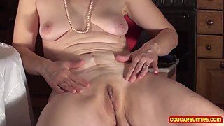 MILF eats cream, masturbates together with photograph, BJ and cumshot swap