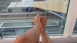 Balcony fetish. Public restaurant horny feet