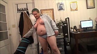 Panties, Huge Natural Tits, Open Button Down Shirt, Chubby MILF, Frangelica