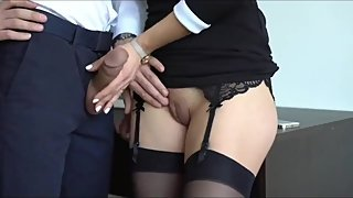 Slutty secretary made her boss cum