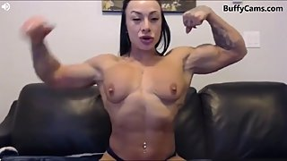 female bodybuilder muscle on cam