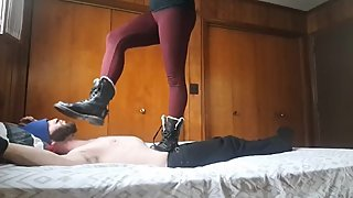 Trampling Femdom in Doc's and barefeet cracking ribs