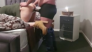 Step mom fucked from behind by step son while dad watching on tv