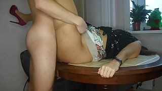 Fuck me on the table as hard as you tore my pantyhose!