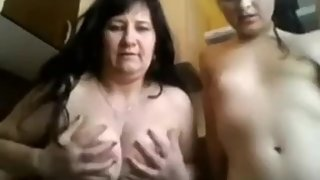 Mom and stepdaughter on webcam