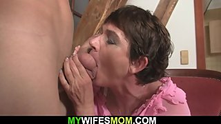 Hairy pussy mother inlaw swallows his cheating big cock